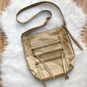 Lucky Brand tan genuine leather tassel crossbody